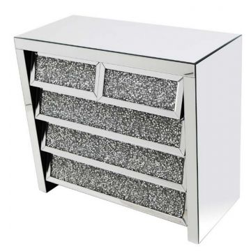 Crushed Crystal 5 Drawer Angled Chest