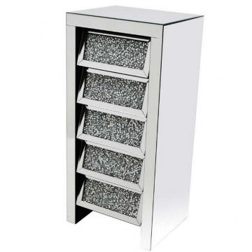 Crushed Crystal 5 Drawer Tall Angled Chest
