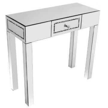 Glamorous Mirrored Crushed Crystal Console Table with Drawer