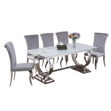 White glass Venice dining table 1.8m wide with circle chrome leg & 6 chairs