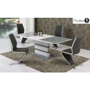 Small Grey and white high gloss dining table with 4 Z chairs