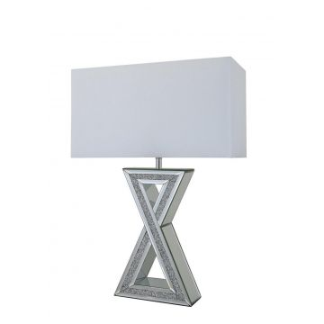 Tall mirrored and crushed diamond sparkle X cross table lamp with white shade