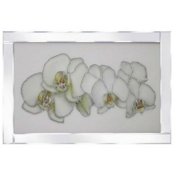 White orchids glitter art picture