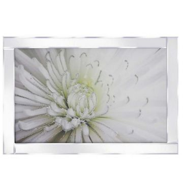 White and green flower glitter picture