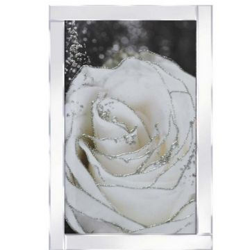 Tall white flower glitter art picture