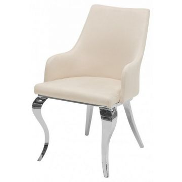 Cream Faux Suede Velvet Chair with Curved Chrome Leg