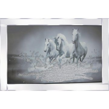 Galloping horses picture in mirrored frame