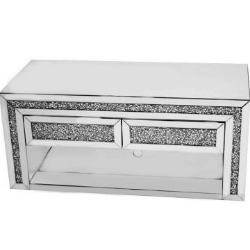 Luxury crushed diamond mirrored media unit with 2 drawers