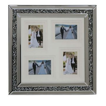 Crushed diamond 6x4 or 7x5 4 aperture photo frame