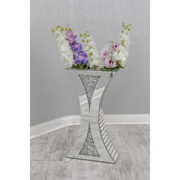 Crushed diamond curved dried flower vase
