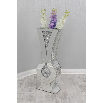 Tall venetian mirrored crushed crystal dried flower vase