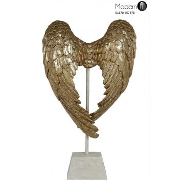 Gold angel wings ornament, angel wings decoration on stand