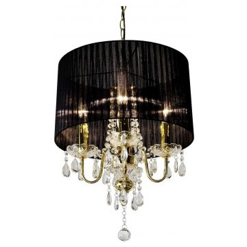Gold crystal droplet 4 light chandelier with black shade