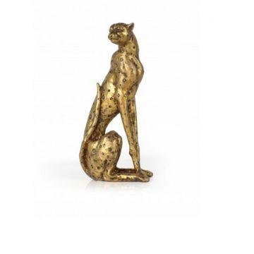 Gold Sitting Leopard Ornament Looking Over Shoulder