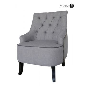 Grey occasional deep button chair