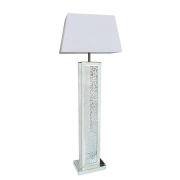Stunning mirrored and crystal standard floor lamp with white shade