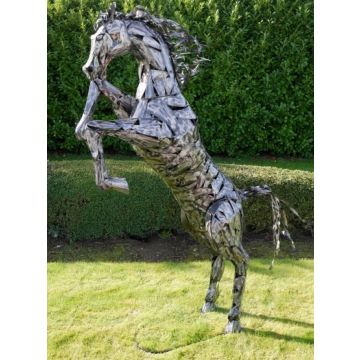 Extra large rearing horse garden statue