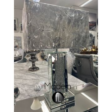 Crushed crystal table lamp with grey marble shade