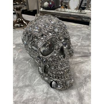 Silver electroplated Skull with Jewel Detail