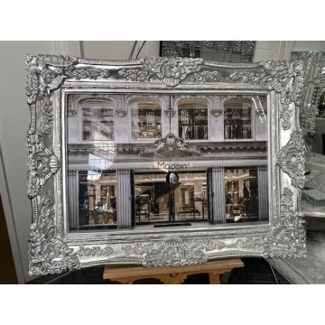 Designer shop front picture with 3d glitter effect and Silver Baroque Frame