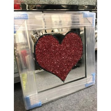 3d Love heart picture with mirrored frame