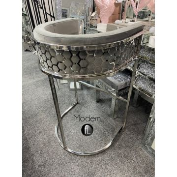 Geometric Grey Velvet bar stool, luxury grey bar stool with chrome leg
