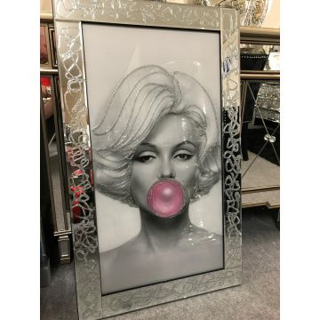 Marilyn Monroe bubble gum picture in gliter sparkle frame