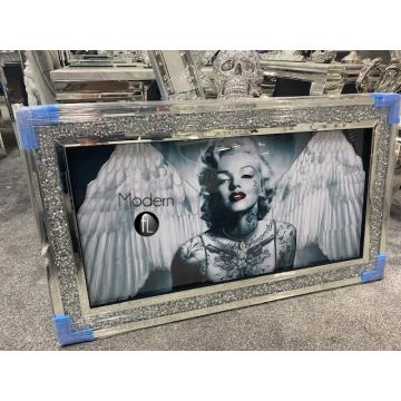 Marilyn Monroe with angel wings glitter art picture in crushed crystal frame
