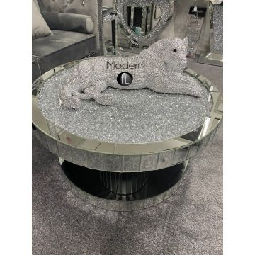 Crushed diamond round coffee table