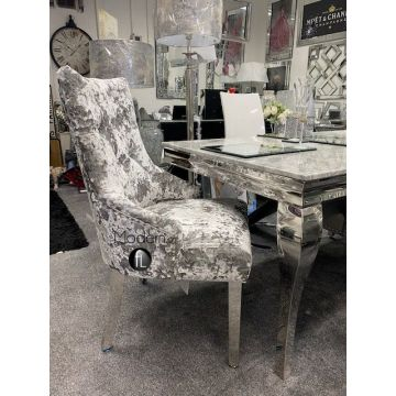 1.6 grey marble dining table with x6 two toned silver crushed velvet dining chairs