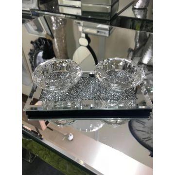 Crushed diamond double tea light holder