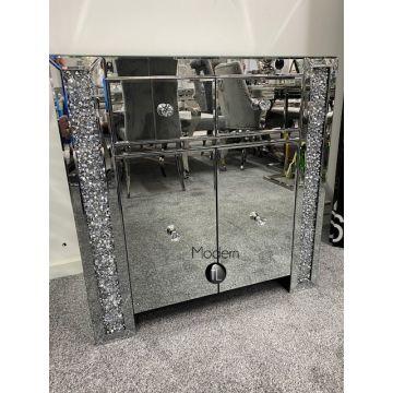 2 Door Mirrored crushed diamond sideboard with crystal handle