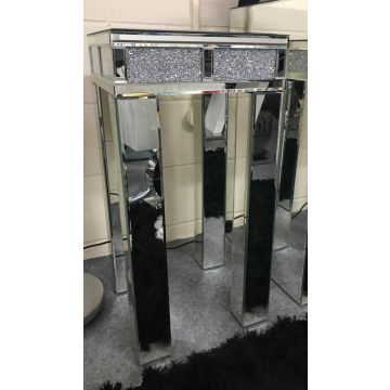 Tall crushed diamond side table