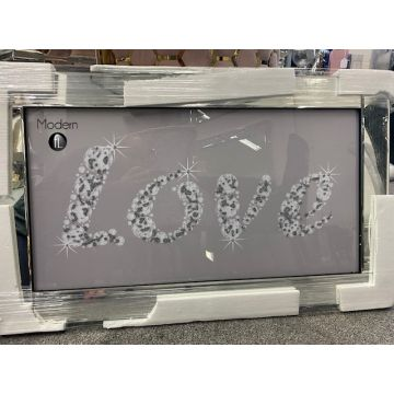 Grey And White Love Picture With Glitter Effect, Glitz Picture Mirrored Frame