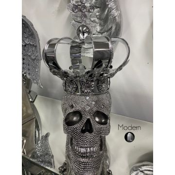 Silver electroplated Skull with Crown head figure, glitz sparkle Skull ornament