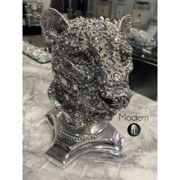 Stunning silver jewel leopard head ornament, glitz sparkle Leopard ornament