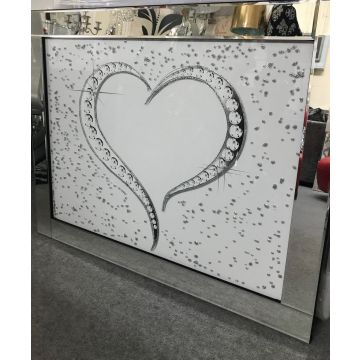 Large silver and white love heart glitter picture