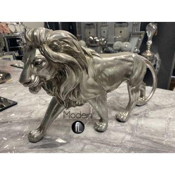 Silver walking Lion ornament, antique silver Lion big cat ornament 42 cm long
