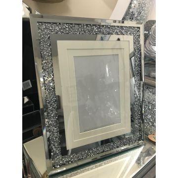 Crushed diamond 6x4 or 8x6 mirror photo frame
