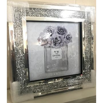 Lilac perfume picture with crushed crystal frame