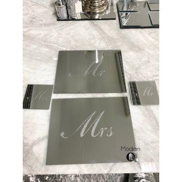 Mirror Set of 2 MR & MRS sparkle glitter place mats & coasters
