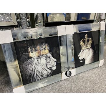 King Lion head and Queen Lioness mirror pictures, 55x55 animal king Lion