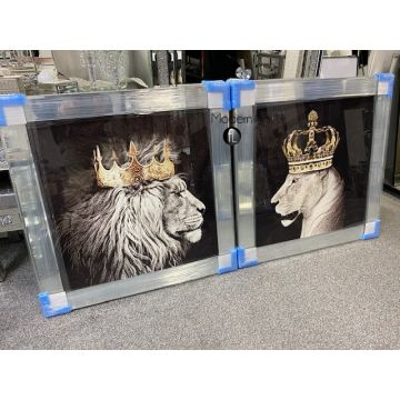 King Lion head and Queen Lioness mirror pictures, 90x90 animal king Lion