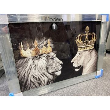 King & Queen lion & Lioness glitter wall art picture with mirrored frame