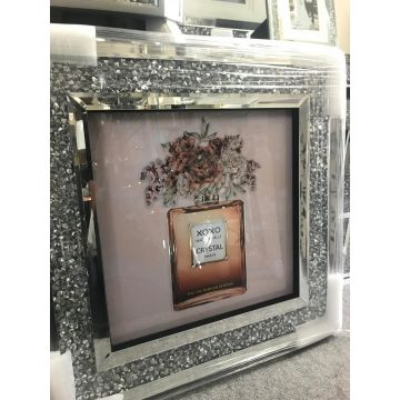 Tan perfume bottle glitter picture with mirror diamond sparkle frame