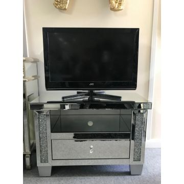 Mirror glass TV cabinet with crushed crystal sparkle trim