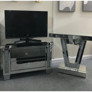 Mirror glass TV cabinet with crushed crystal sparkle and matching console table