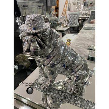 Silver resin sitting bulldog with hat and scarf, electroplated bull dog ornament