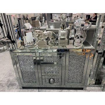 Large contemporary 3 drawer 2 door crushed diamond sideboard, glitz sparkle unit