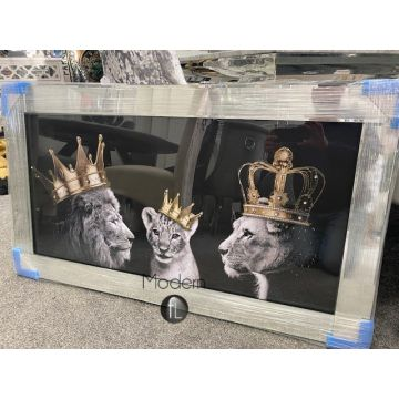 Lion pride of the family wall picture in mirrored frame, lion family 100x50 cm